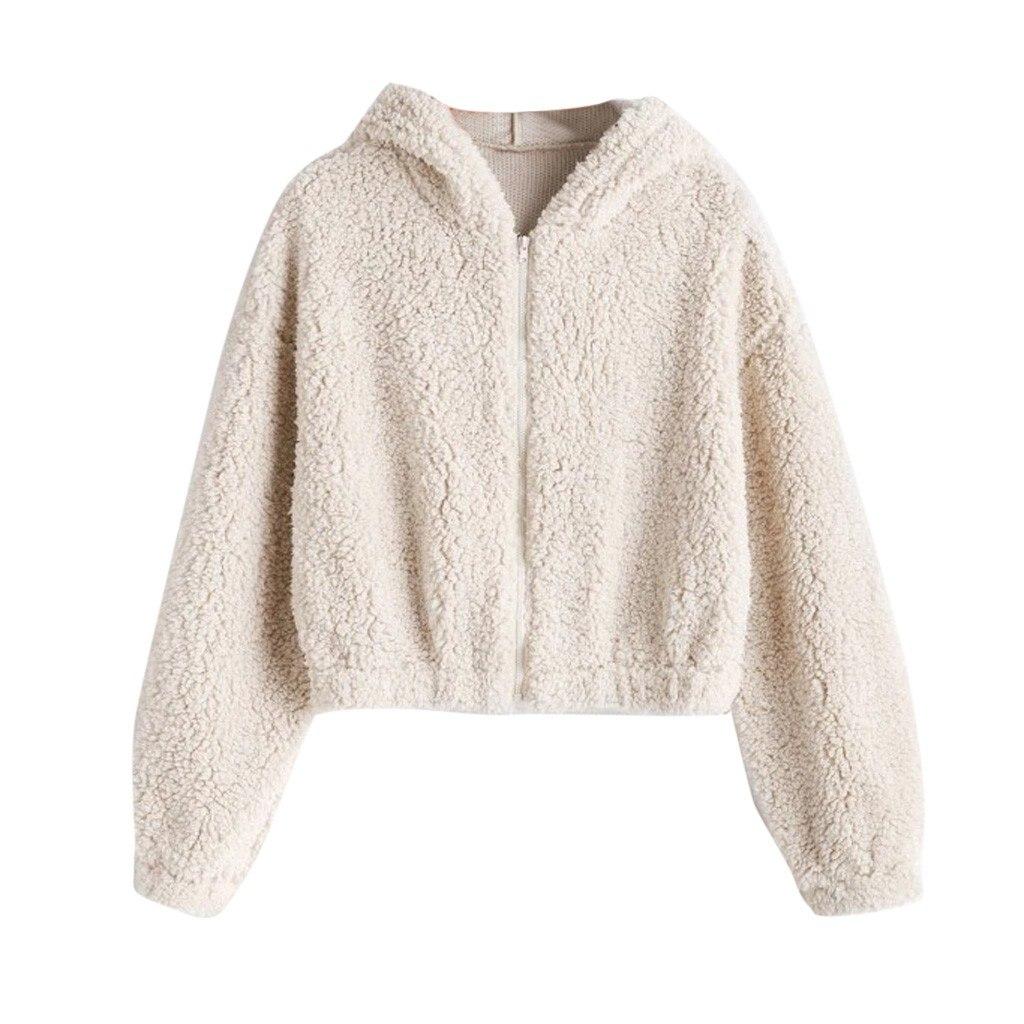 JAYCOSIN Fashion Ladies Solid Color Soft Plush Zipper Jacket Sweatshirt Hooded Long-sleeved Casual Pocket Sweatshirt Daily Wild
