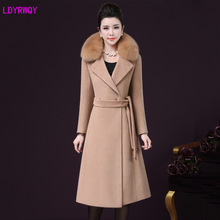 2019 autumn and winter new women's fashion fur collar long-sleeved lacing waist slimming warm long A word woolen coat children s clothing danish princess loves round collar asymmetric bow small a word swing warm coat