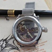 FORSINING-Reloj de pulsera mecánico automático con hebilla magnética para hombre, deportivo, militar, de lujo, con puente hueco, reloj de hombre resistente al agua