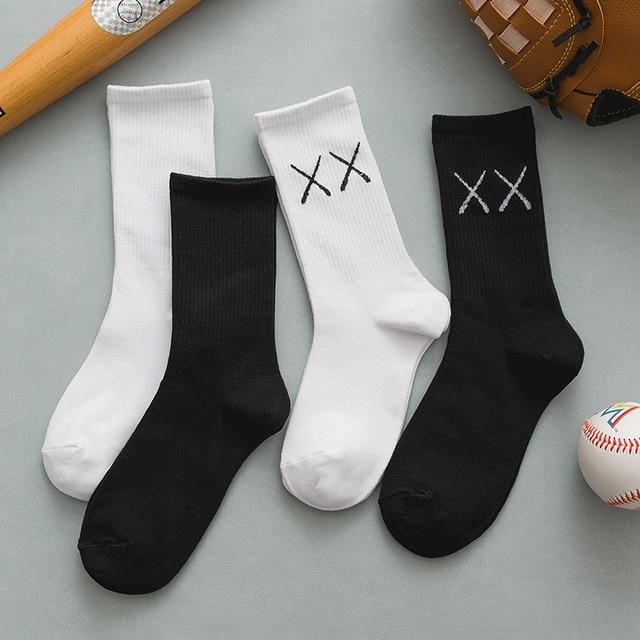 Socks autumn and winter ins pure cotton women's Solid Color Soft Fashion girls black white lolita funny korean 1
