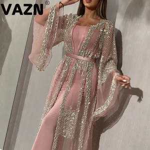 VAZN 2020 new fashion elegant fair maiden style long dresses long sleeve round neck horn sleeve pure color floor-length dresses
