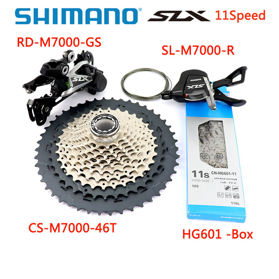 <font><b>Shimano</b></font> <font><b>SLX</b></font> <font><b>M7000</b></font> <font><b>Groupset</b></font> Upgrade-Kit Mountain Bike 11 Speed <font><b>M7000</b></font> 42T/46T cassette & Rear Derailleur/Shift Lever/HG601 Chain image