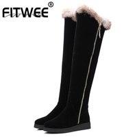 FITWEE Women Flat Over Knee Boots Plush Fur Woman Long Botas Ladies Fashion Warm Winter Woman Shoes Footwear Size 34 43
