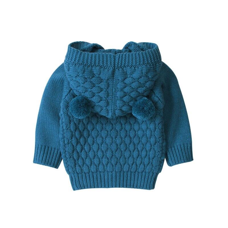 Maluch dziecko dzieci chłopiec dziewczyny zimowy sweter z kapturem z dzianiny topy ciepły płaszcz znosić niemowlę dziewczynek chłopców ciepły płaszcz uszy z kapturem