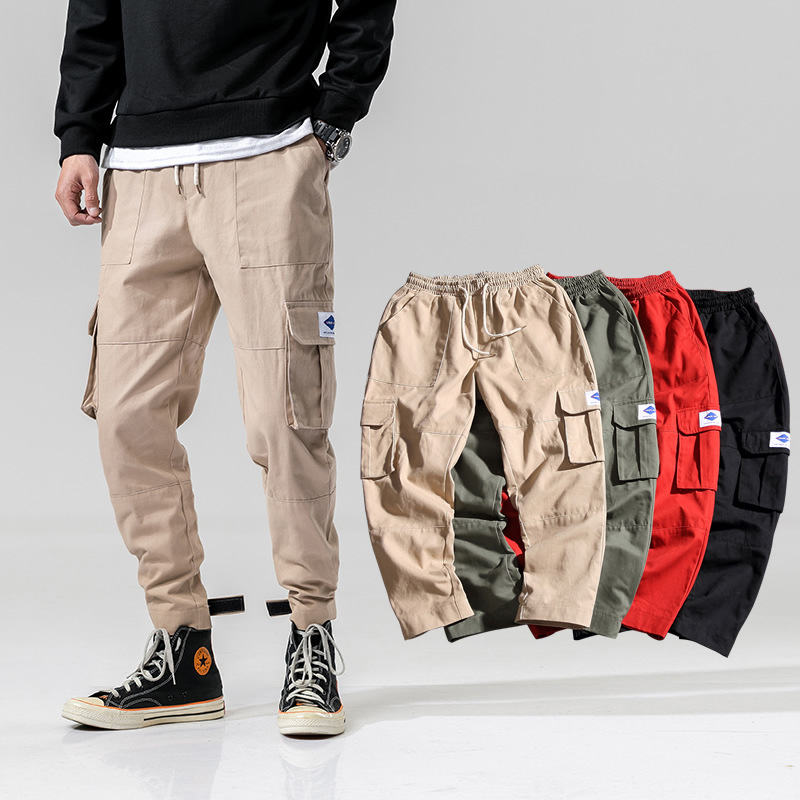 2019 New Style Bib Overall Men's Korean-style Loose And Plus-sized Casual Beam Leg Large Pocket Outdoor Sports Youth Trousers Fa