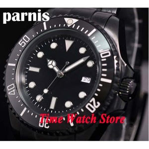 Parnis assista 44mm estéril mostrador preto caso pvd moldura cerâmica luminosa mar homenagem automático movimento auto-vento relógio masculino 66