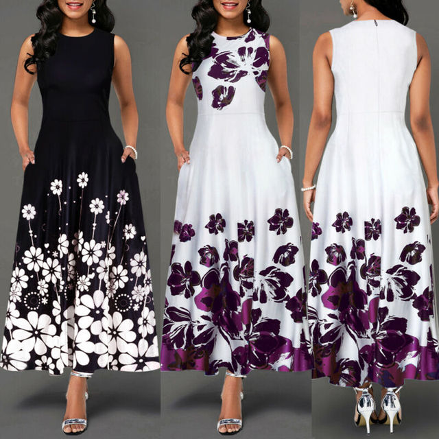 Sleeveless Floral Printed Elegant Summer Beach Maxi Dress 2