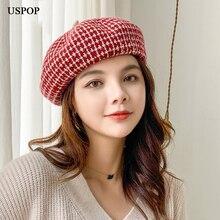 USPOP 2019 New winter wool hats women berets thickened jacquard plaid  beret hat painter