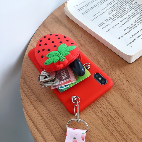Zipper Wallet Phone Case for Samsung Galaxy A70 A60 A50 A40 A30 A20 A10 A80 M30 M20 M10 Fruit Cartoon Soft Silicone Cover skin Karachi