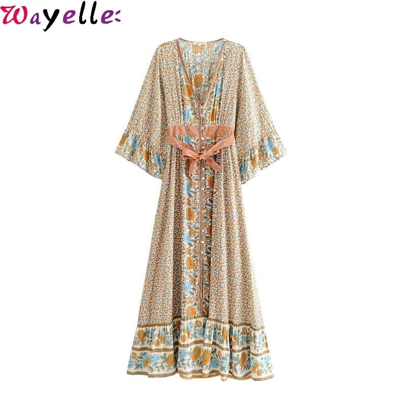 Boho Chic Maxi robe femmes été Vintage imprimé Floral avec des ceintures longue robe femmes 2019 mode Kimono manches Maxi robe de plage