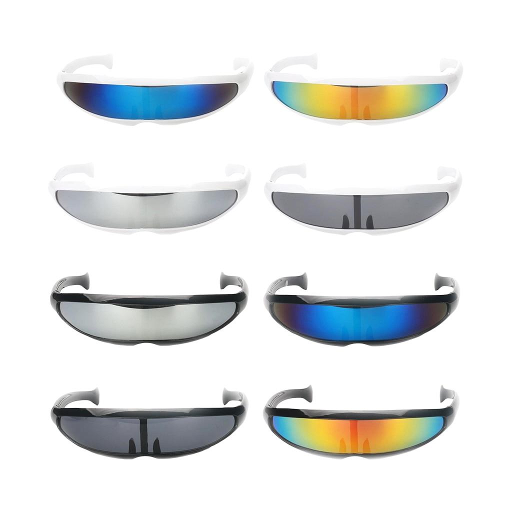 Смешной пластиковый цветной зеркальный козырек с одной линзой солнцезащитные очки циклоп очки в стиле косплей