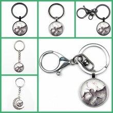 Retro Fashion Tai Chi Yin Yang Cat Pendant Keychain Charm YinYang Cartoon Logo Keyring Jewelry Key Chain Party Souvenir Gift