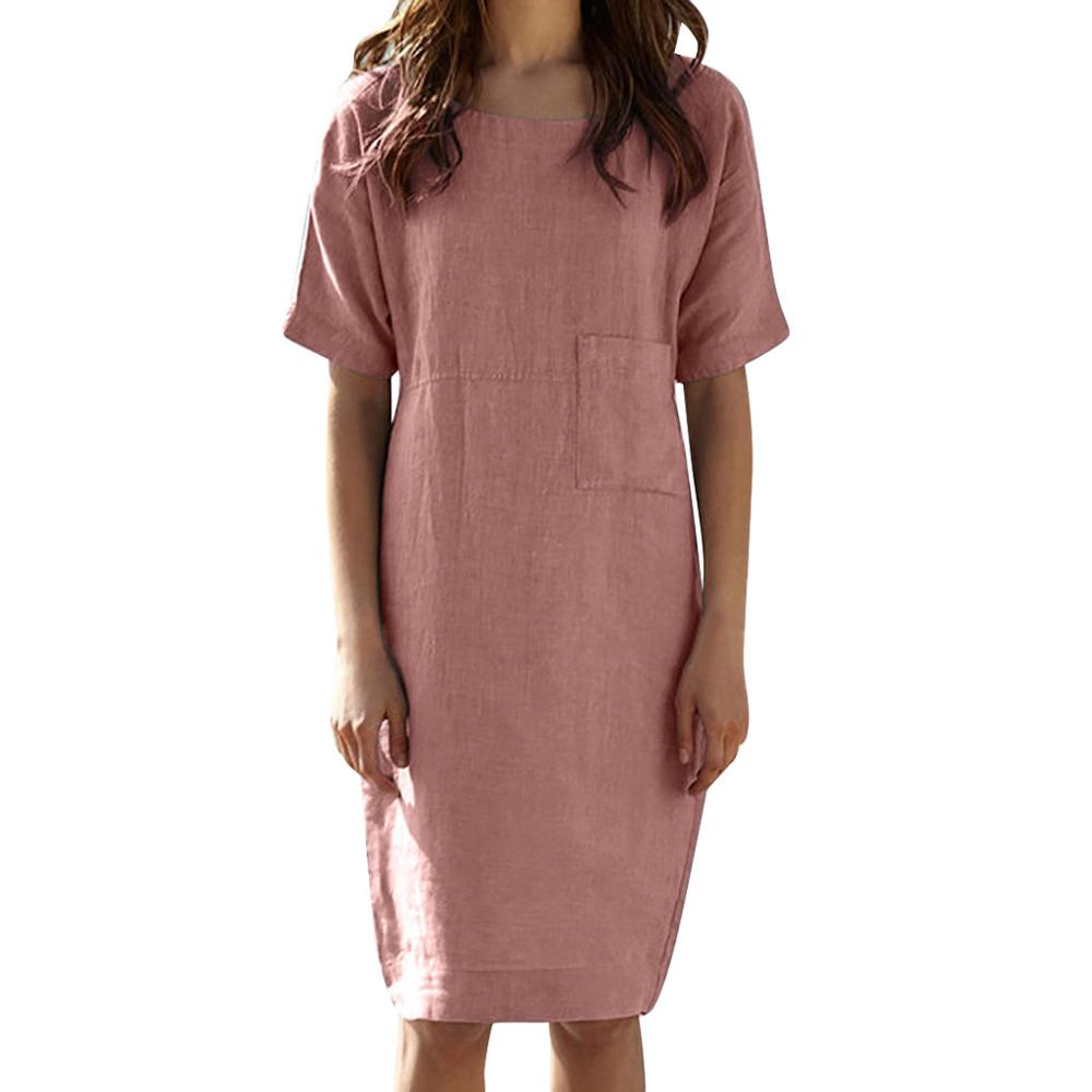 Womens Summer Short Sleeve Linen Dress Loose A-line Party Sundress Pocket Dress Summer Clothes For Women Plus Size Dress #7
