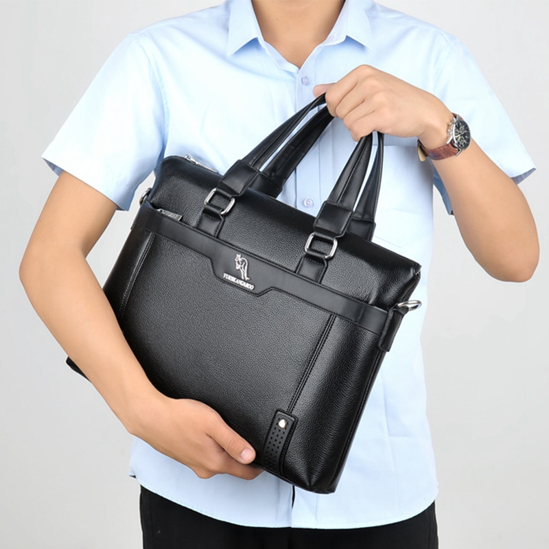 YUESKANGAROO Men Bag Casual Briefcase Shoulder Bags Business Male Laptop Handbag Vintage Leather Crossbody Messenger Bag