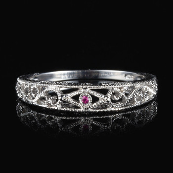 HELON Real 10k White Gold 100% Genuine Natural Pink sapphire Gemstone Ring Vintage Antique Wedding Ring For Women Trendy Jewelry image