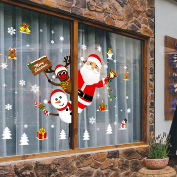 Christmas Wall Stickers Merry Christmas Decorations for Home 2021 New Year Windows Santa Claus Elk Glass Wall Sticker Home Decor 2020 merry christmas wall stickers window glass festival wall decals santa murals new year christmas decorations for home decor