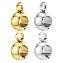 10 pces/20 pces 3/4/5mm grânulos de aço inoxidável bails pingentes conector jóias fazendo diy colar pulseira prata cor charme contas