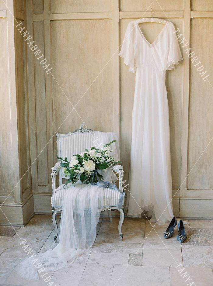 Ultimate SaleïWedding-Dresses Bridal-Gowns A-Line Ruffles-Sleeve Chiffon Elegant Deep V-Neck Silk Backless