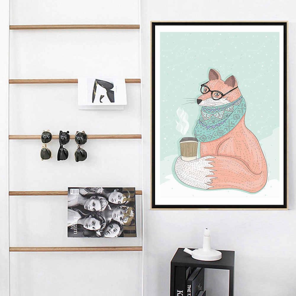 Áp Phích Và Họa Tiết In Trên Vải Nghệ Thuật Động Vật Hình Cho Phòng Khách Nhà Trang Trí Dễ Thương Sóc Cáo Chó Không Gọng