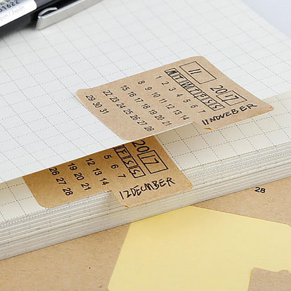 Kraft paper  2020 2021 Kraft Paper Handwritten Calendar Notebook Index Stickers Office School Supplies