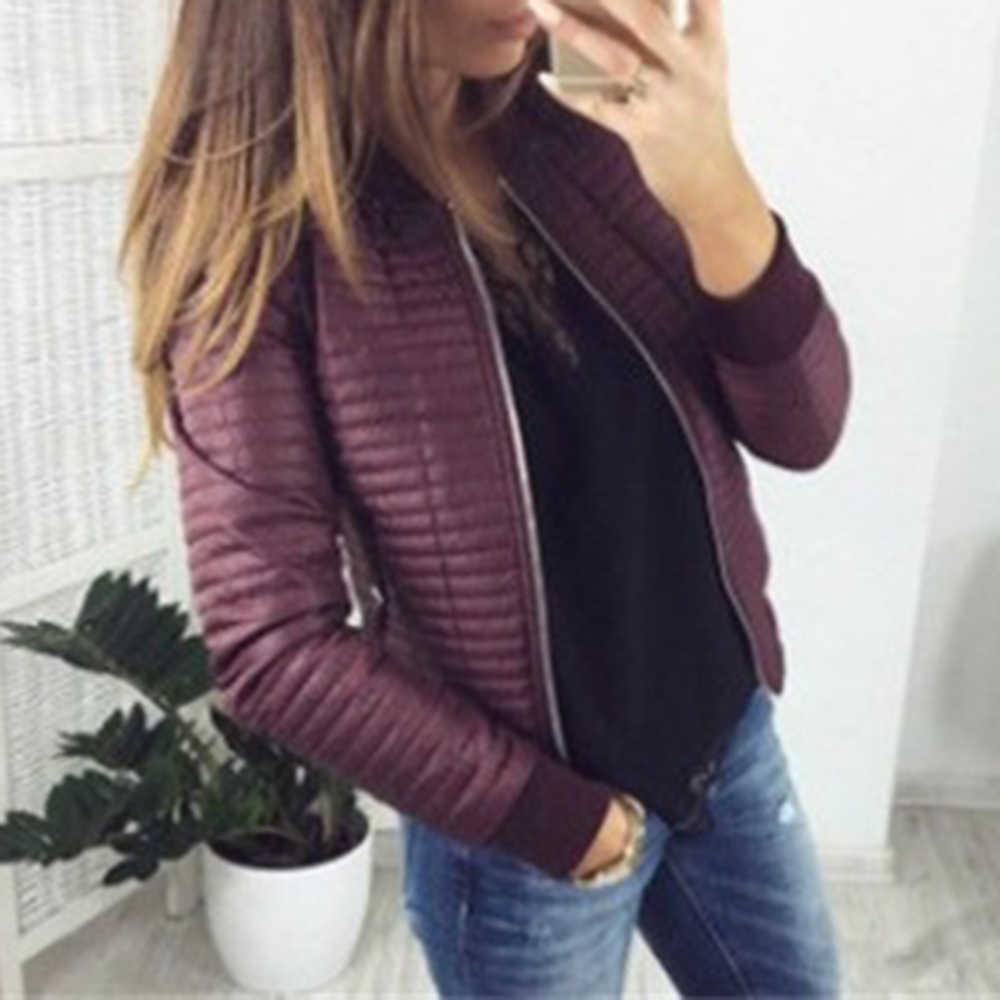LASPERAL Mode Frauen Bomer Jacke Herbst Winter Schlank Baumwolle Gefütterte Parkas Casual Kragen Long Sleeve Zipper Jacken Mantel