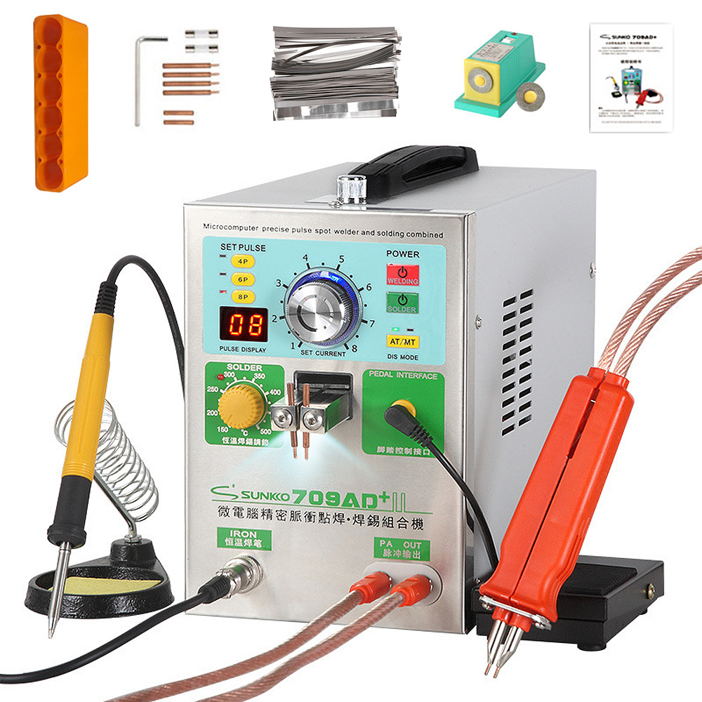 SUNKKO 709AD+ Spot Welder 3.2KW Automatic Pulse 18650 Battery Pack Spot Welding Machine With Soldering Iron Handheld Welding Pen