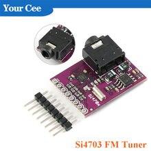 Si4703 fm tuner placa de avaliação sintonizador rádio módulo placa desenvolvimento com 3.5mm fone de ouvido áudio jack