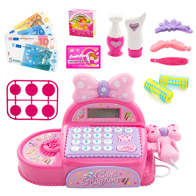 Kids Supermarket Cash Register Simulated Role Play Toys For Girls With Multi-Functional Calculator Pretend Play Toy For Children 2