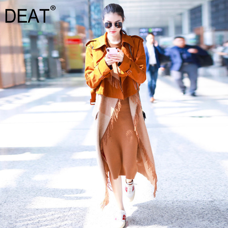 DEAT autumn and winter turn-down collar full sleeves letters printed woolen tassels windbreaker two pieces   trench   WH40804L