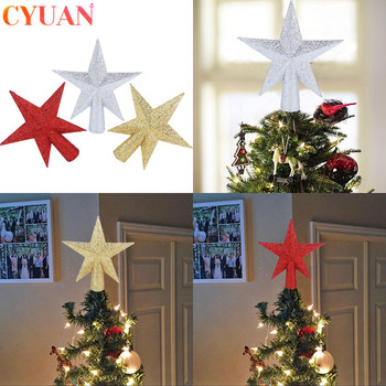 Ozdoby choinkowe ozdoby ozdoby czerwone złoto srebrna końcówka Star Decor Navidad 2020 ozdoby choinkowe dla domu Natal tanie i dobre opinie cyuan Bez pudełka