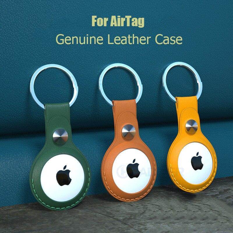 Чехол для ключей из натуральной кожи с кольцом для AirTag, защитный чехол для ключей для Apple Air, трекер местоположения, защитная кожаная Петля, 1:1