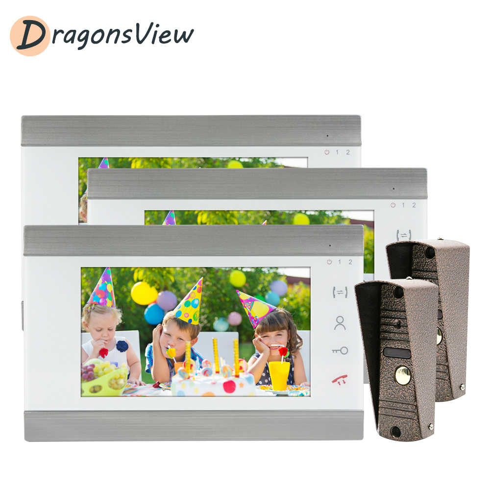DragonsView فيديو إنترفون السلكية 7 بوصة فيديو باب الهاتف ل نظام الحماية المنزلي 6 شاشات مع 2 جرس باب ضد الماء كاميرا