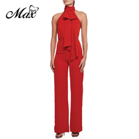 Max Spri 2019 New Trendy Halter Lacing Sleeveless Women Wide Leg Jumpsuit Office Lady Daily Outfit Red Rompers