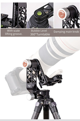 XILETU XGH-2 Pro Aluminum alloy Gimbal Tripod Head Stabilizer Quick Release Plate for Telephoto Lens photography