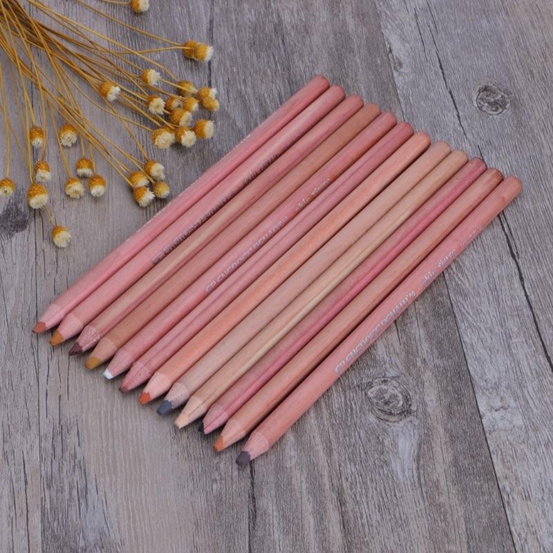 12Pcs Professional Soft Pastel Pencils Wood Skin Tint Pastel Colored Pencil
