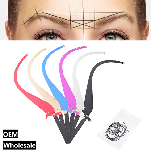 New Microblading Line Marker Ruler with 10pcs Thread Lines Eyebrow Design Measuring Ruler Set Permanent Makeup Supplies