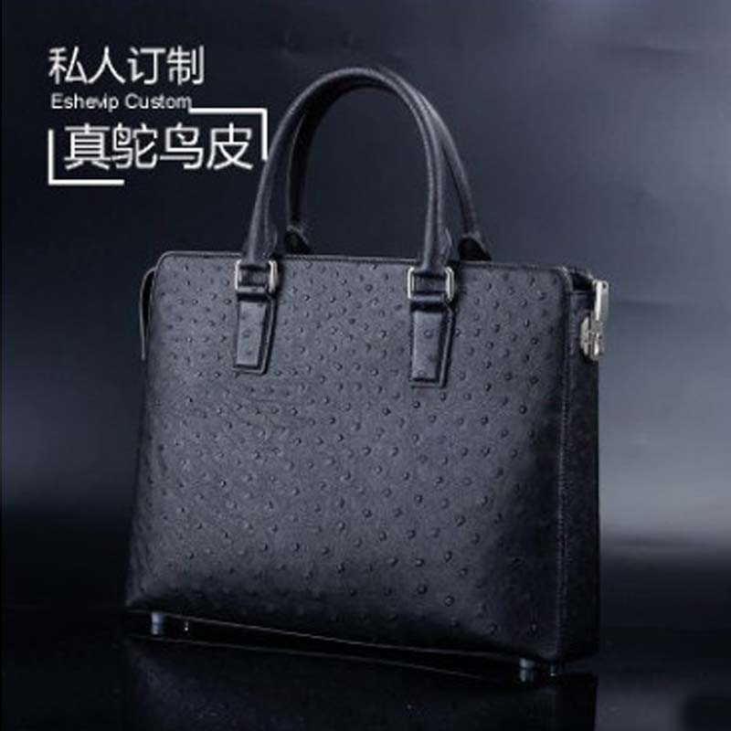 Ourui Hot Style  True  Ostrich Leather  Men  A Briefcase  Combination Lock  Men Handbag