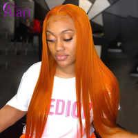 Peluca de encaje transparente Fontal de 30 pulgadas Ombre pelucas de cabello humano naranja peluca con malla frontal con pelo de bebé brasileño lacio Peluca de encaje completo