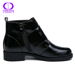 Image 4 - AIMEIGAO printemps automne noir fermeture éclair imperméable bottines femmes hiver en cuir verni chaussure femmes chaud en peluche à lintérieur dames bottes