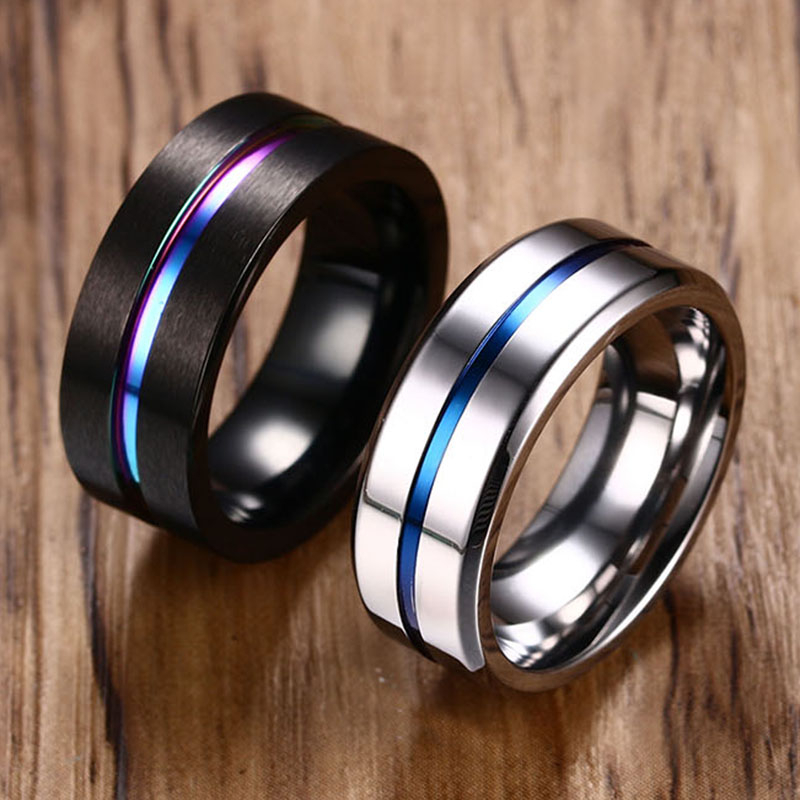 Vnox 6/8mm Black Ring for Men Women Groove Rainbow Stainless Steel Wedding Bands Trendy Fraternal Rings Casual Male Jewelry