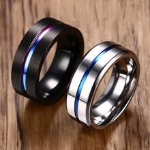 Vnox 8mm czarny pierścień dla kobiet mężczyzn Groove Rainbow obrączki ze stali nierdzewnej Trendy braterskie pierścienie Casual biżuteria męska