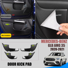 4 Pcs Leather Car Door Anti Kick Pad Protection Side Edge Film Protector Stickers For Mercedes-Benz GLB AMG 35 2020-2021