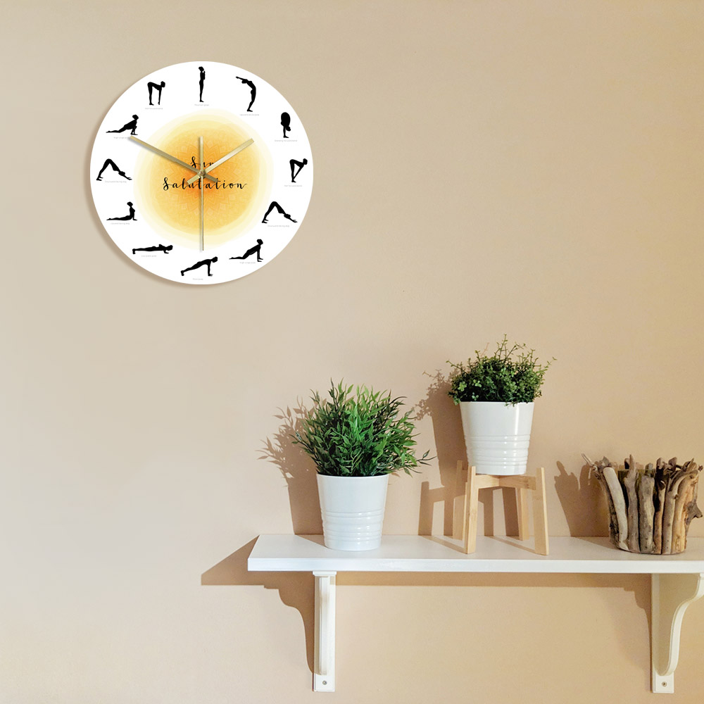 Surya Namaskar Sequence Yoga Pose Silhouette Wall Clock Non ticking Sun Salutation Wall Clock Yoga Studio Decor Gift For Yogis Just6F
