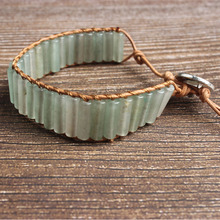 LanLi natural Jewelry  cylinder green aventurine knit bracelet men and women Giving presents self use