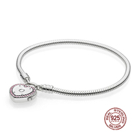 NEW 2018 Valentine's Day Newest 100% 925 Sterling Silver Bracelet Heart shaped Charm Bead for Women of Fashion DIY Bangle