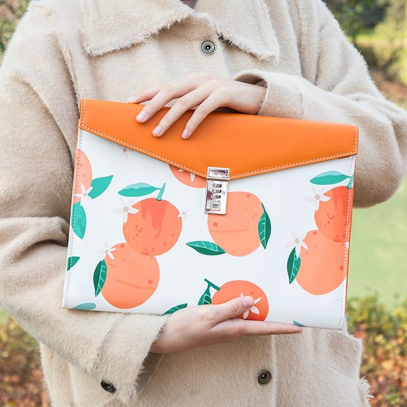 A4 File Folder With Lock Cute Flamingo Document Organizer Bag Kawaii Fichario Cabinet Case For Office School Padfolio Holder Box