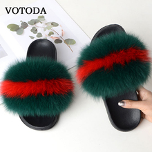 Women Fur Slippers Fluffy Real Fox Slides Flat Furry Sandals Soft Plush Shoes Indoor Ladies Cute Fuzzy