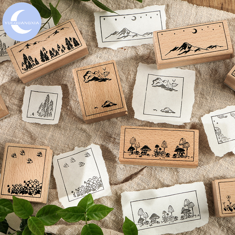 YueGuangXia Sea And Mountain Series Wooden Rubber Stamp For Scrapbooking Deco Classical Craft Label Standard Big Size Stationery