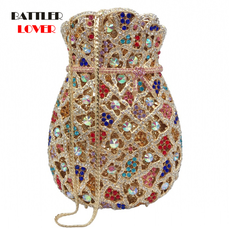 Stylishly Designed Pop Clutch Bags Pouch Money Bags Shape Evening Handbags Dazzling Diamond Gold Pink Shoulder Totes Women
