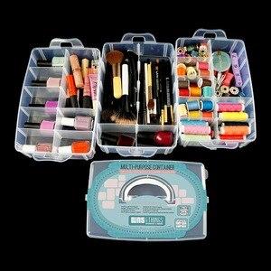 Image 4 - Grand conteneur de rangement avec 30 compartiments ajustables, conteneur pour rangement de fils, accessoires de broderie, bobines et perles